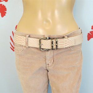 Suzi Roher Pink Faux Snake Belt L